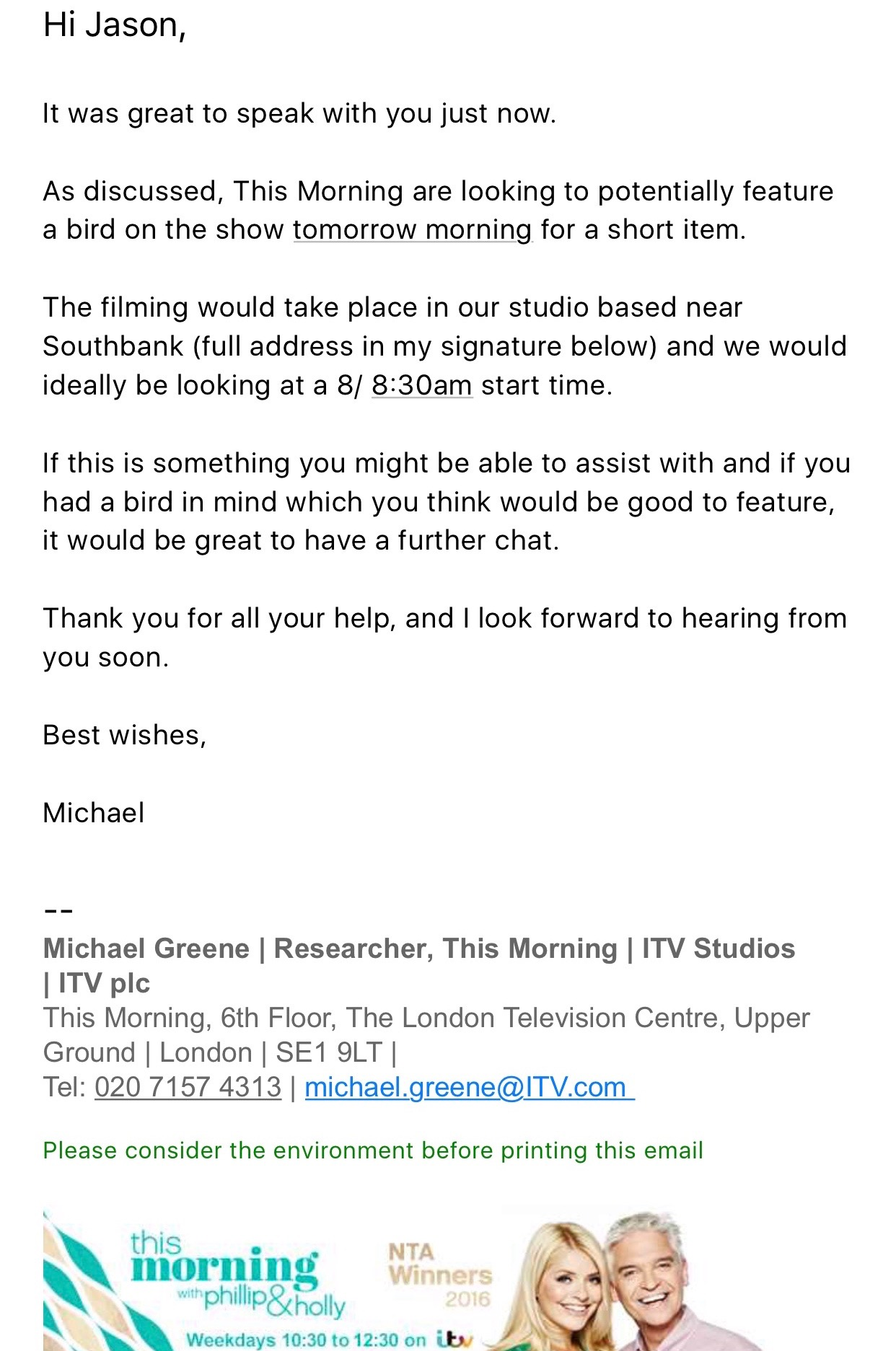 falconry uk itv this morning invitation