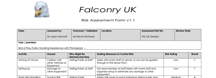 falconry uk risk assessment